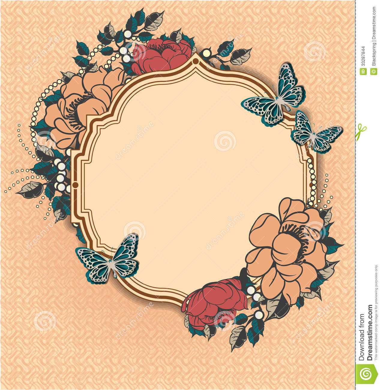 round floral frame template stock vector illustration of vintage