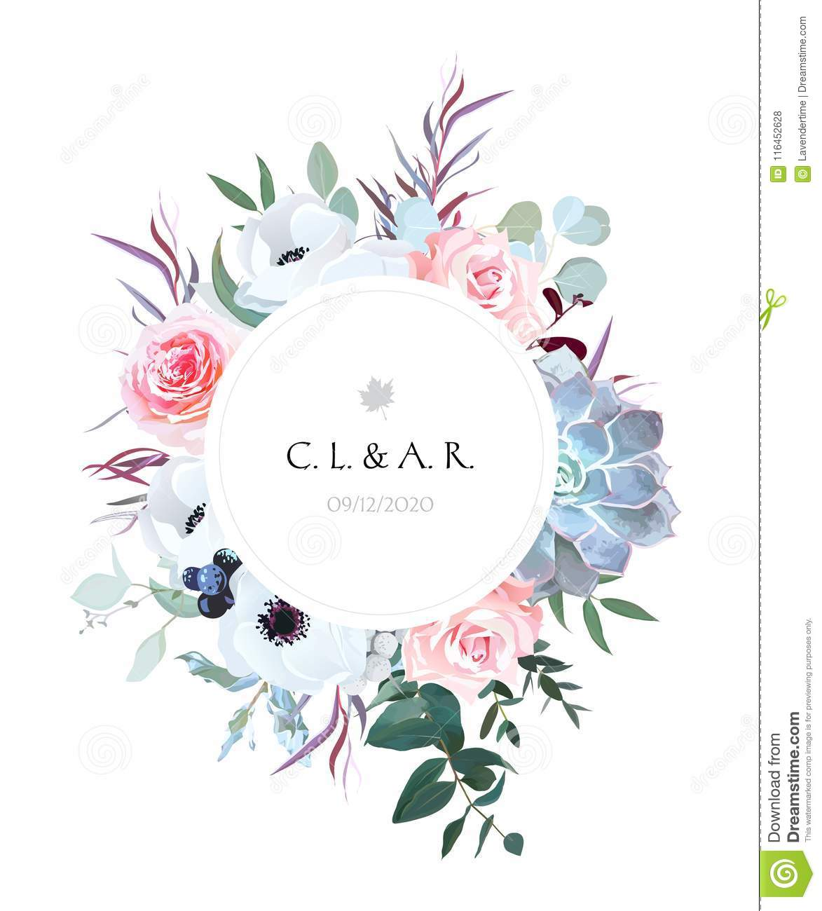 Round Floral Label Frame Arranged From Leaves And Flowers Stock ...