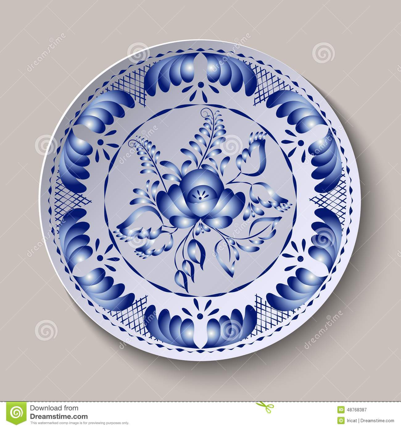 Pattern shown on the ceramic plate.  sc 1 st  Dreamstime.com & Round Floral Ornament Gzhel Style. Pattern Shown On The Ceramic ...