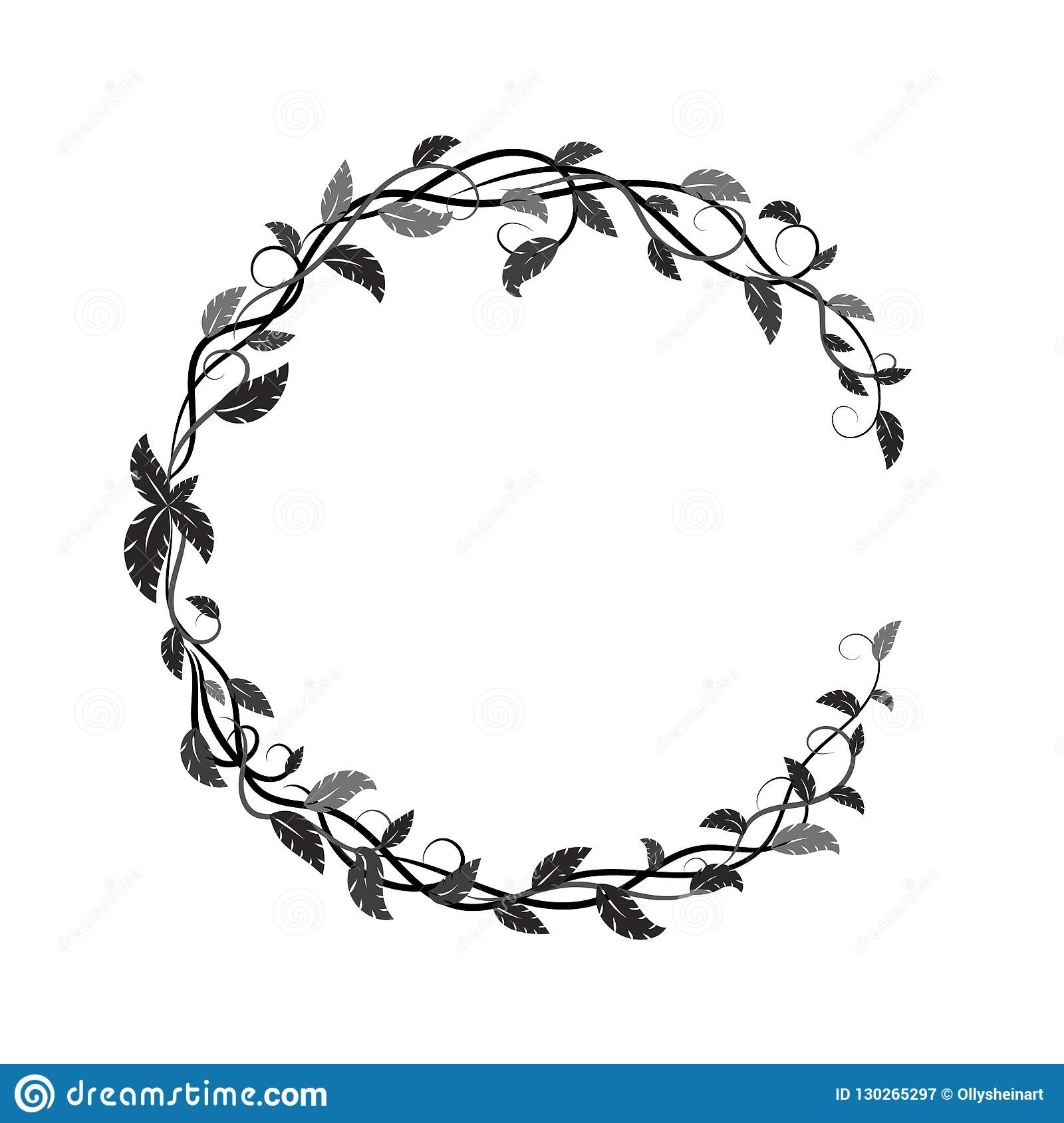 Frame with black and gray tropical leaves and lianas