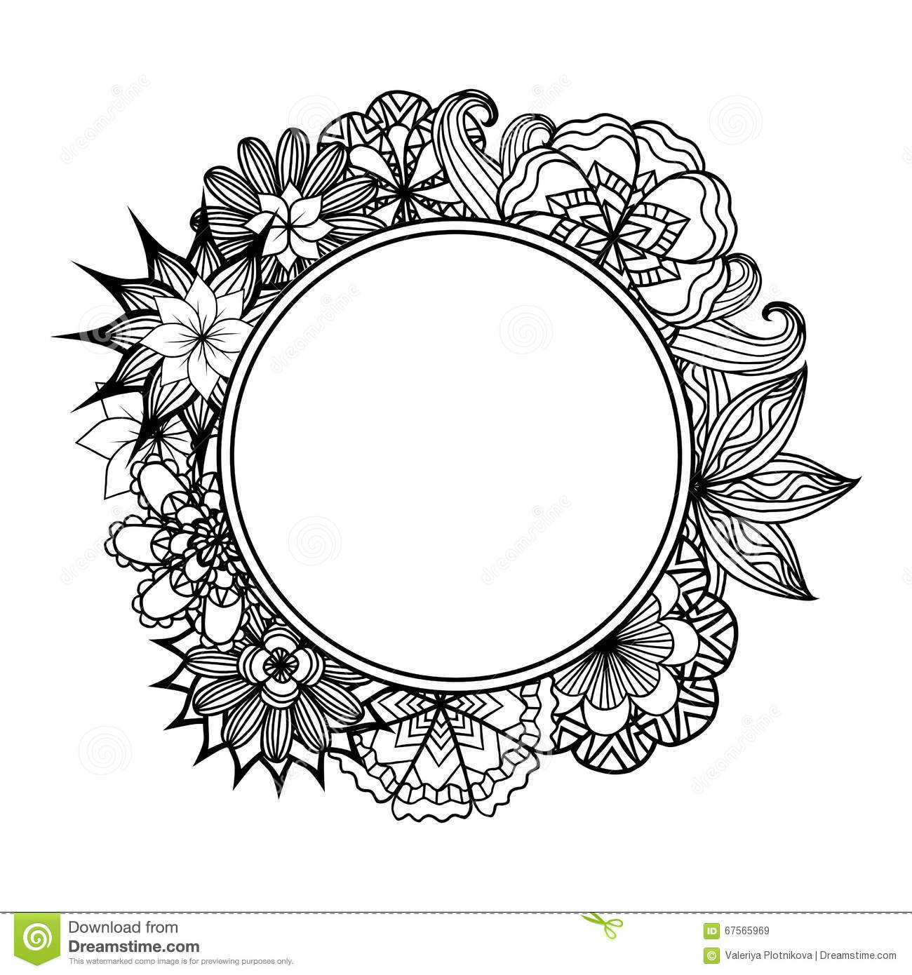 Round Frame With Black And White Doodle Flowers