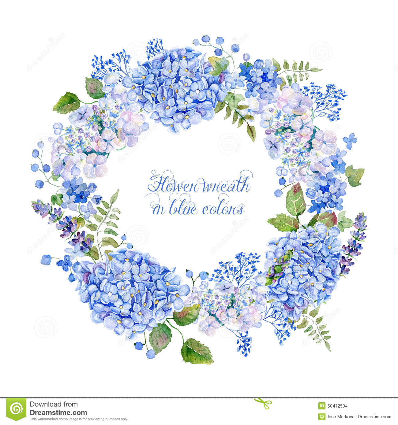 Round Frame Of Blue Hydrangea And Other Flowers. Stock Illustration ...