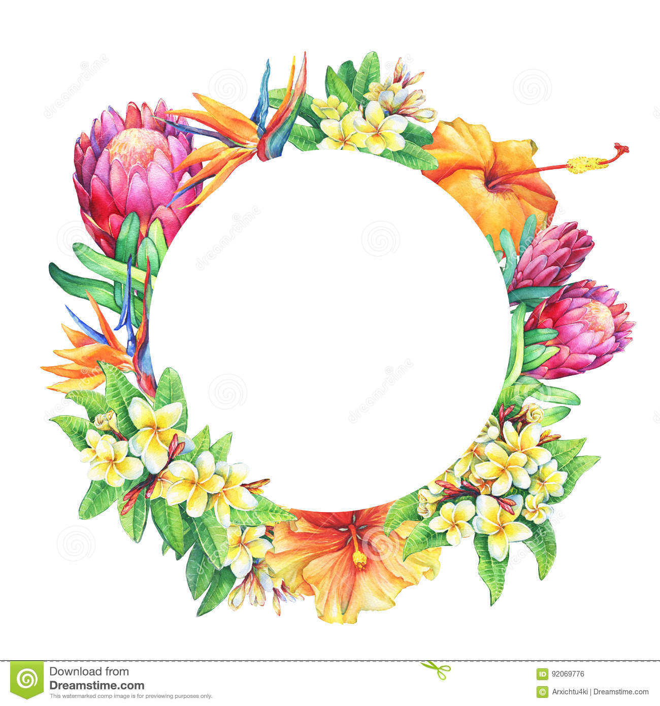 Round Frame With Branches Purple Protea Plumeria Strelitzia And Hibiscus Tropical Flowers