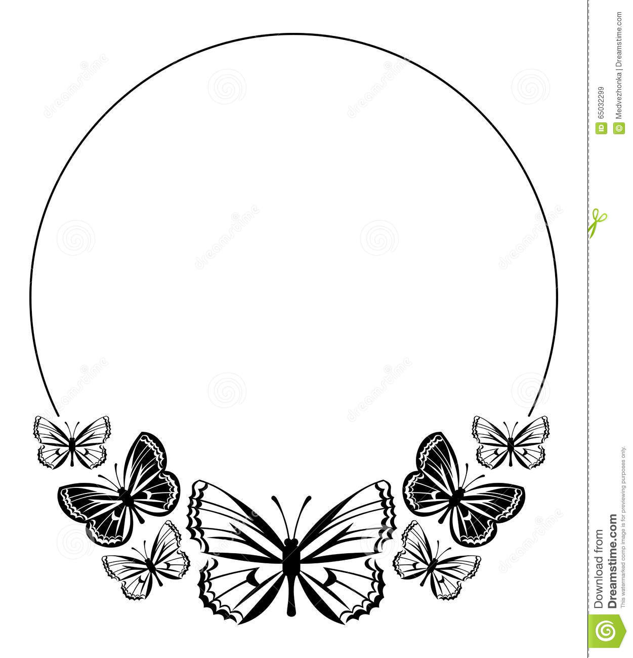 Round Frame With Butterflies Stock Illustration - Illustration of ...