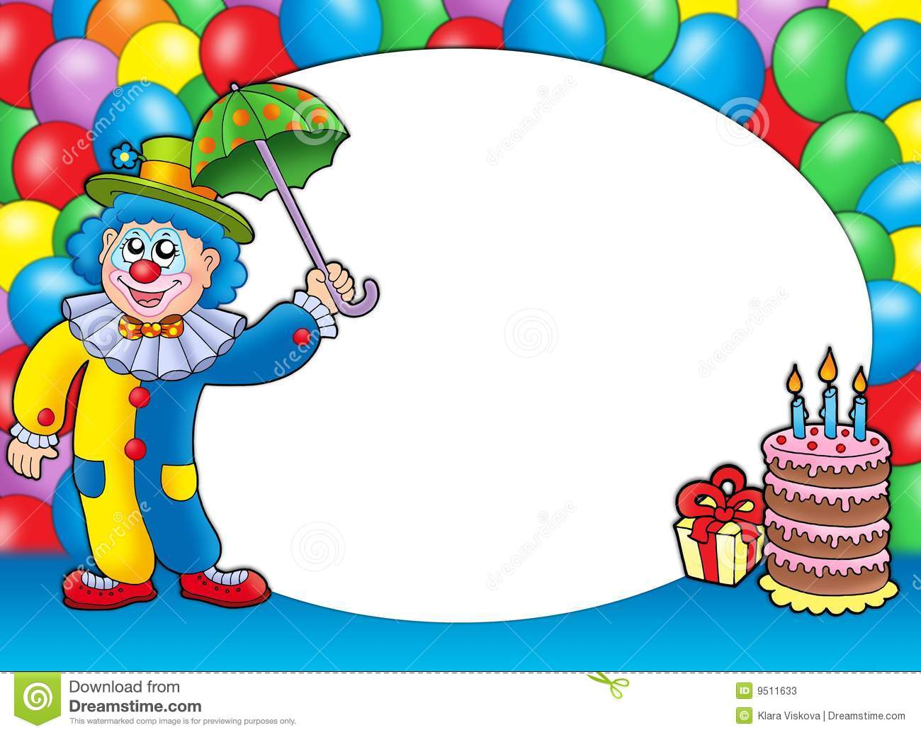 Round Frame With Clown And Balloons Stock Photos Image