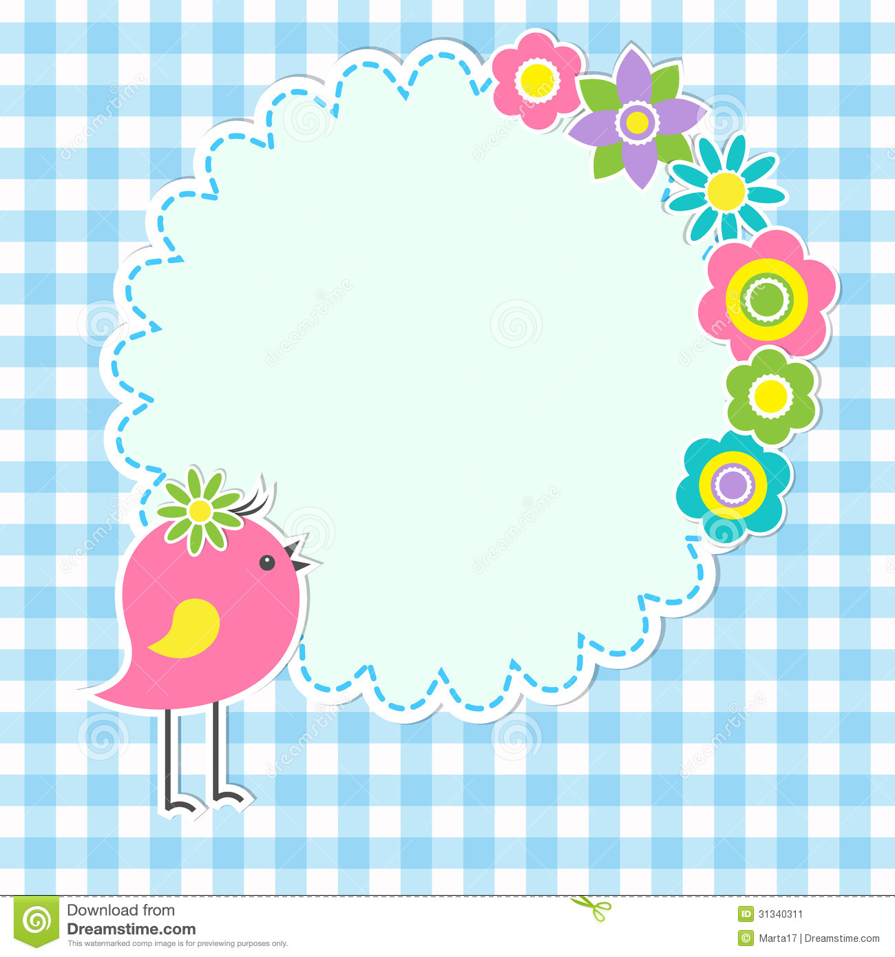 round frame with cute bird stock image