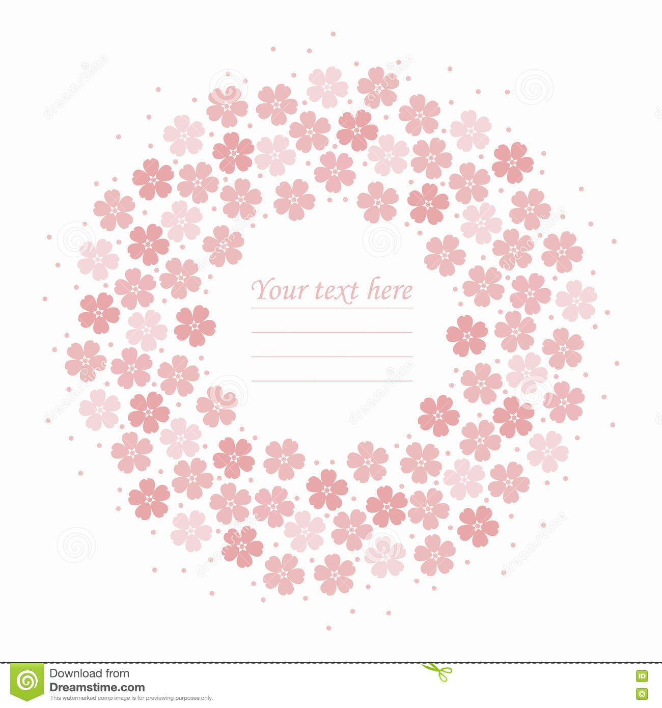 Round Frame With Cute Pink Flowers Stock Vector Illustration Of