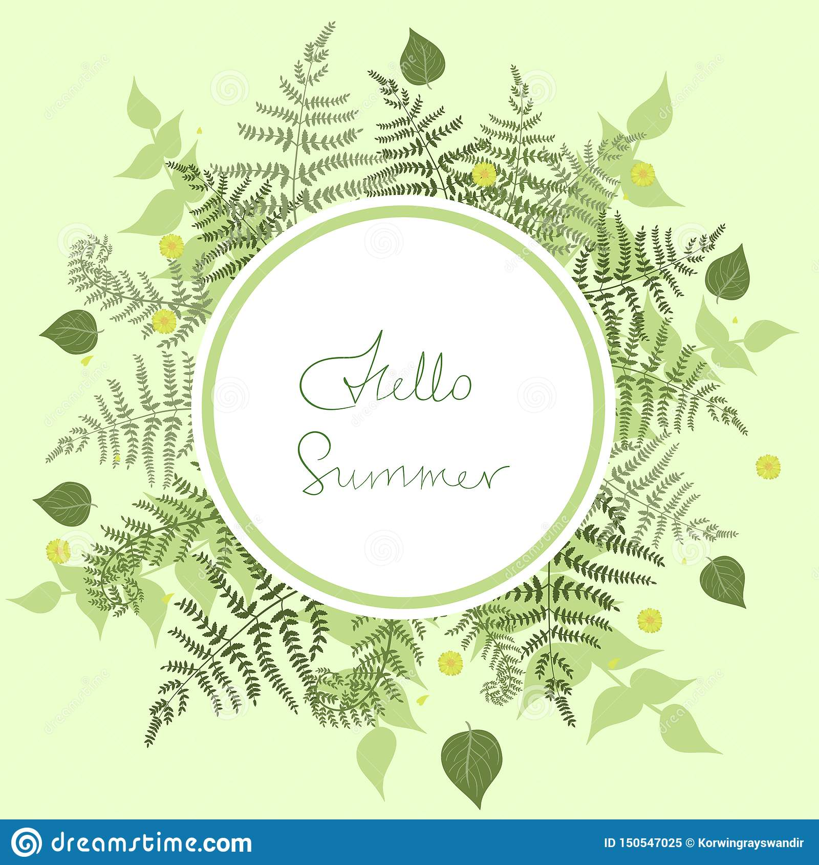 Round frame of fern with the words hello summer. Vector template