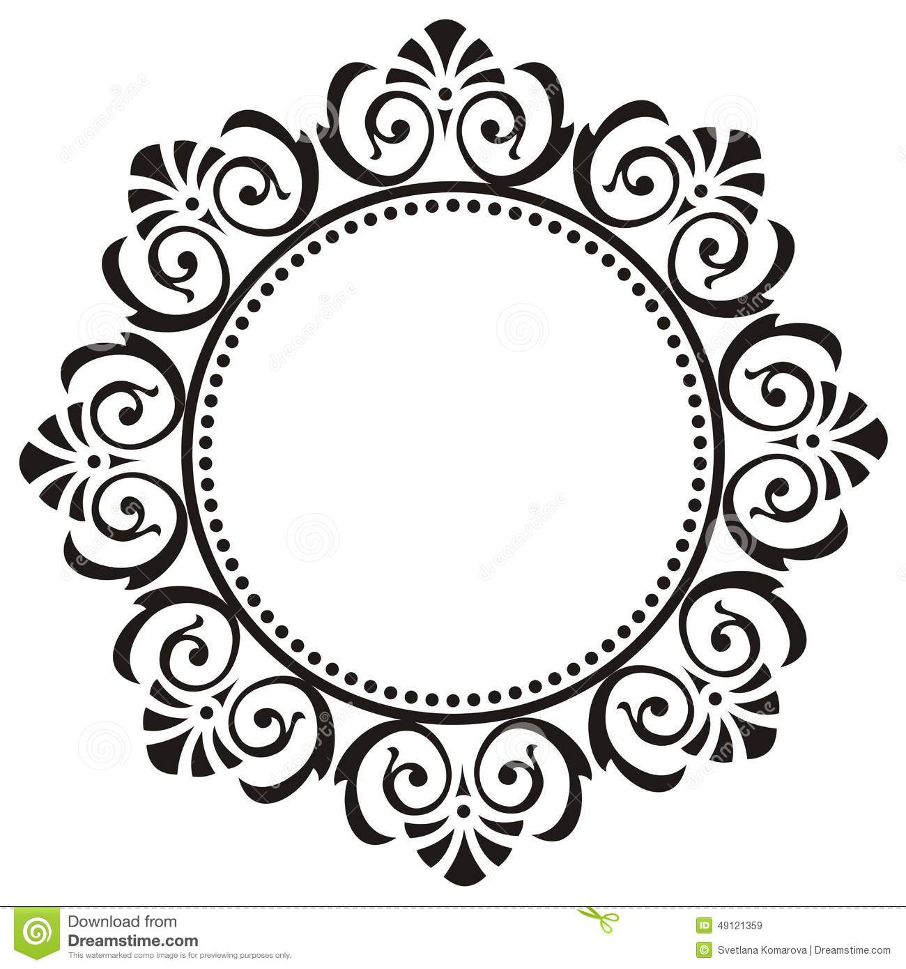 Black Flower Round Up: Round Frame With Floral Ornament Stock Vector