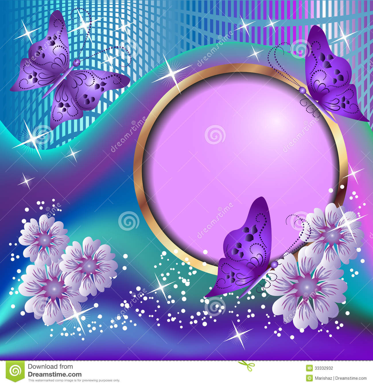 Round Frame, Flowers And Butterflies Stock Photography - Image: 33332932
