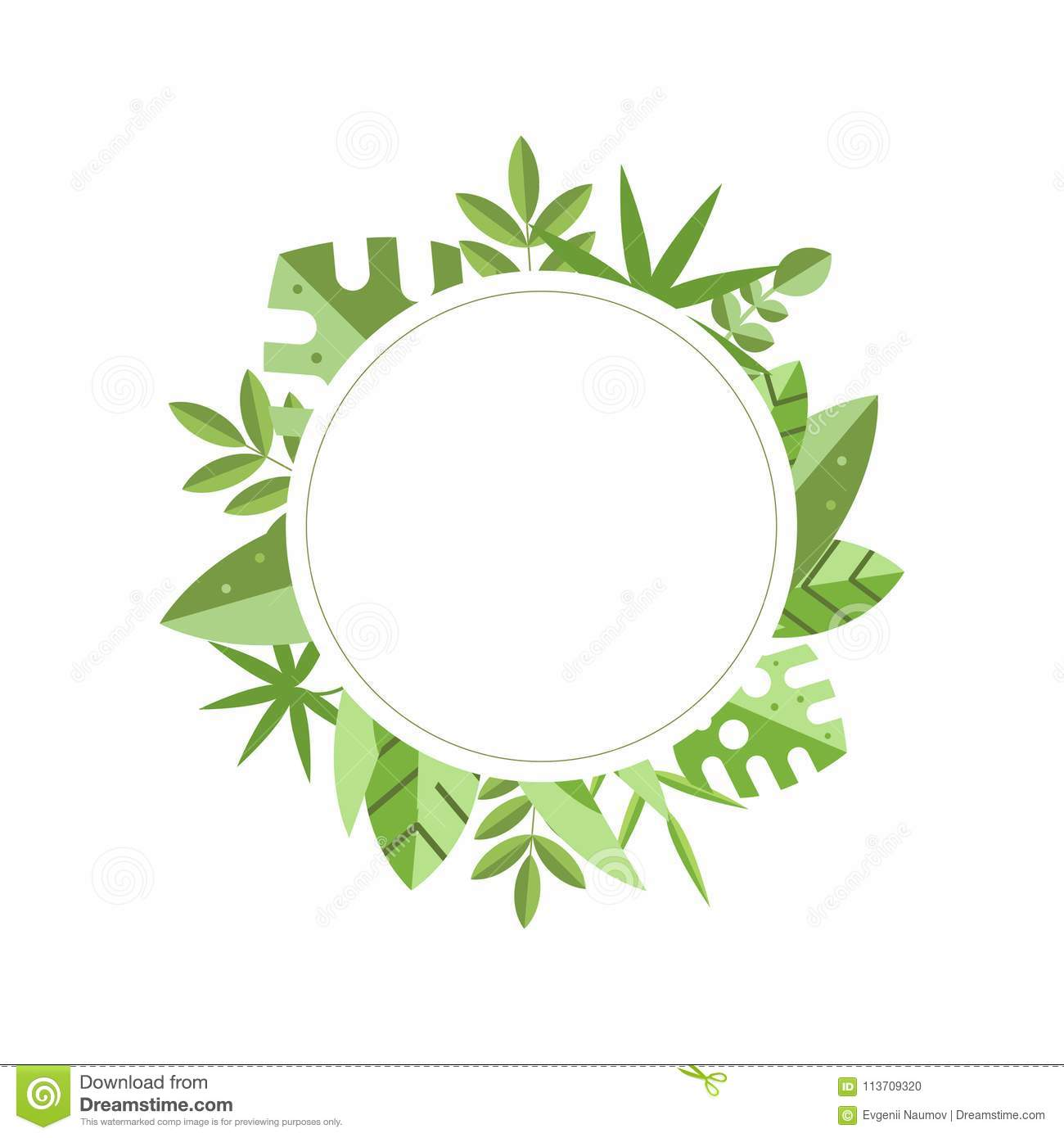 round frame with green tropical leaves on background botanical