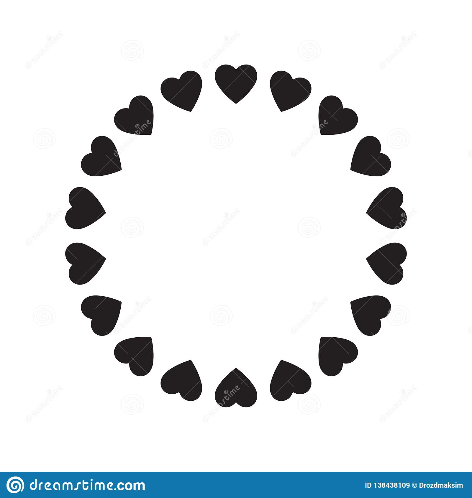 Round Frame Of Hearts Isolated Vector Romantic Round Frames With Hearts For Decorating Greeting Cards Wedding Invitations Stock Vector Illustration Of Round White 138438109