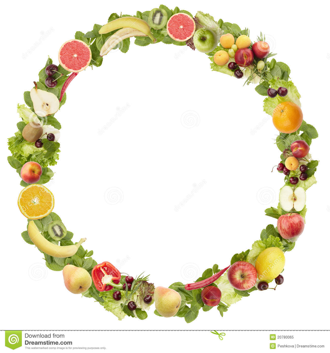 the round frame made of fruits and vegetables stock image