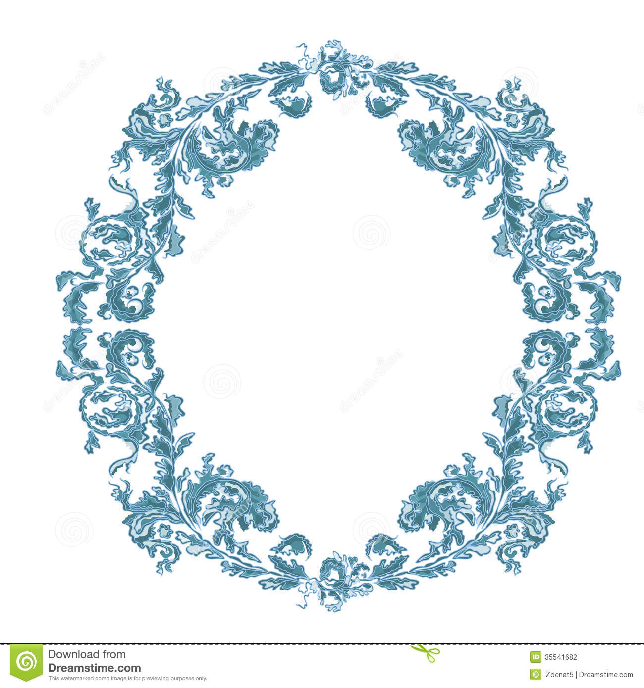 Border lace pattern design watercolor ornament on blue background - Round Frame Ornamental Floral Blue Color Stock Photography