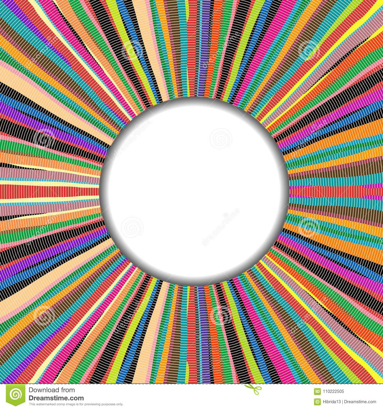 Round Frame Over Colored Handmade Carpet Background Stock