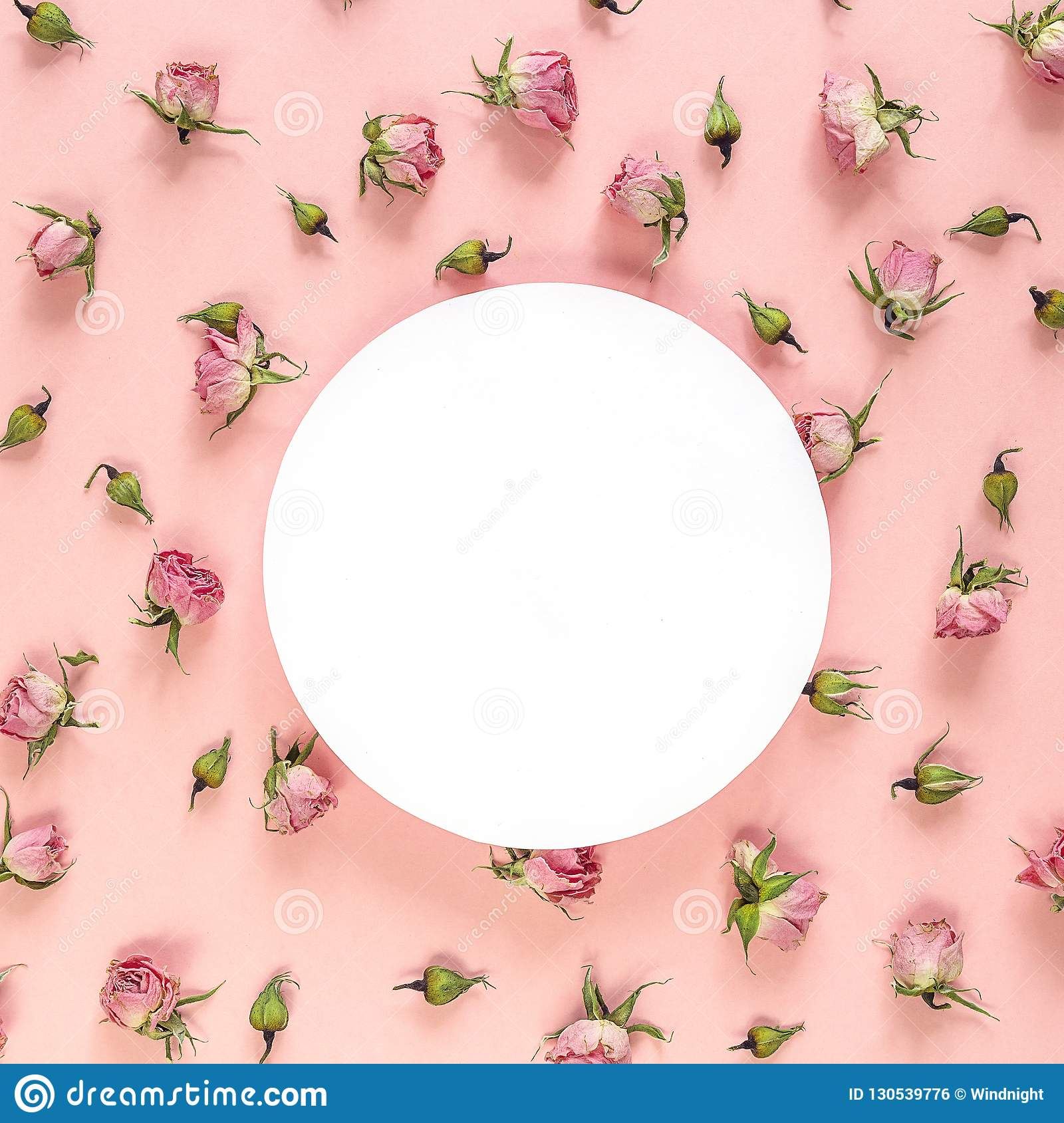 Round frame with pink roses on pink background. Place for text.