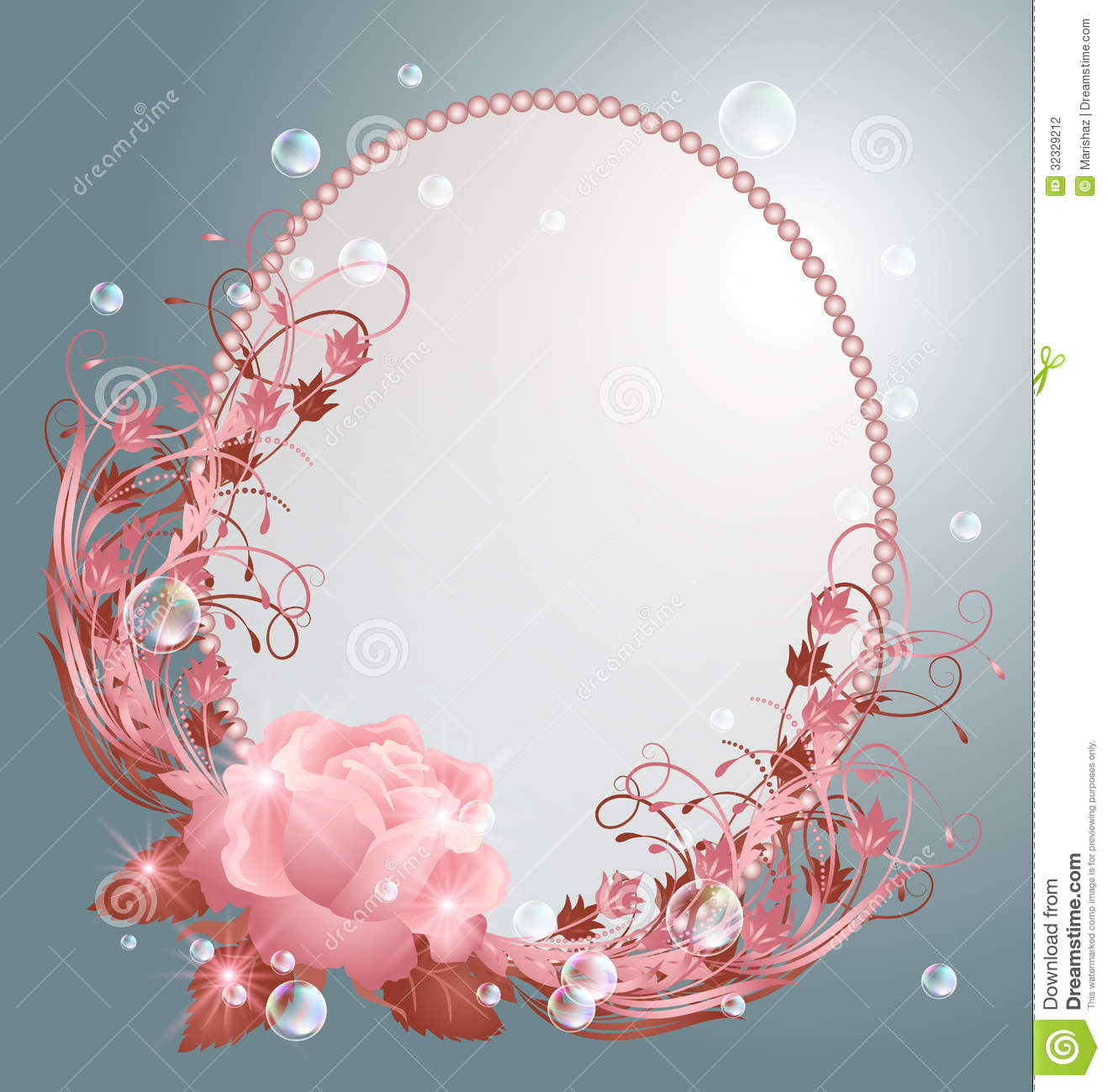 Round Frame And Rose Stock Vector Illustration Of Bubbles