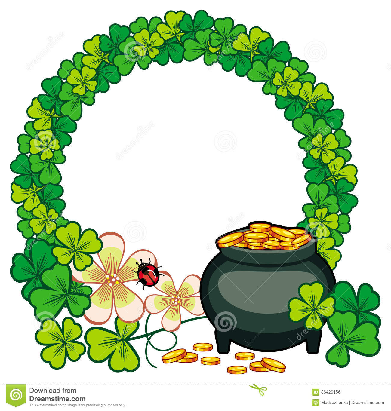 round frame with shamrock and pot of gold raster clip art stock rh dreamstime com clipart free st patrick's day clipart free st patrick's day