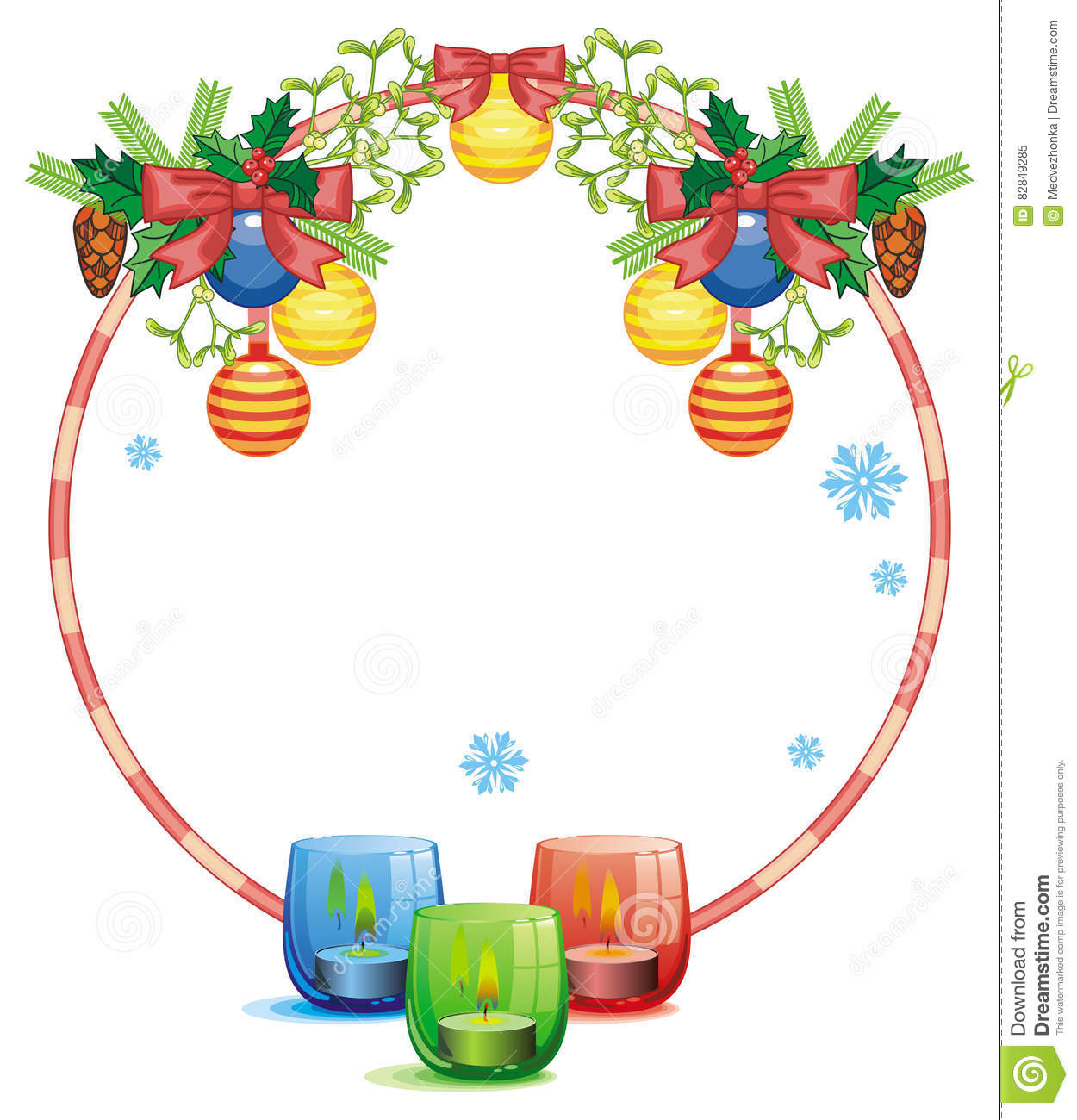 Round Frame In Shape Of Christmas Garland And Lighted Candle Stock ... for lighted candle clip art  587fsj