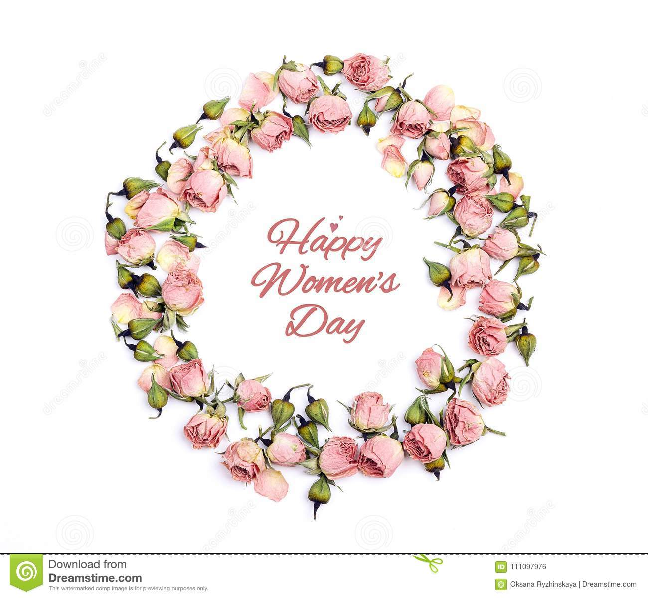 Round frame of small pink roses with Women`s Day greeting messag
