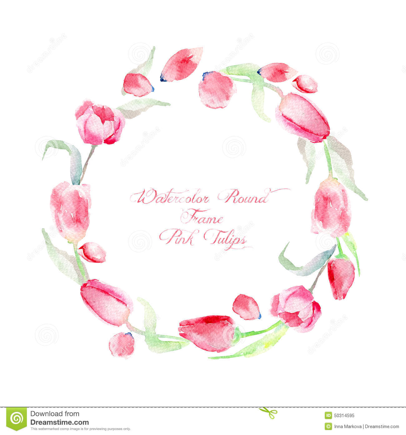 Round Frame Of Of Watercolor Pink Tulips. Stock Illustration - Image ...