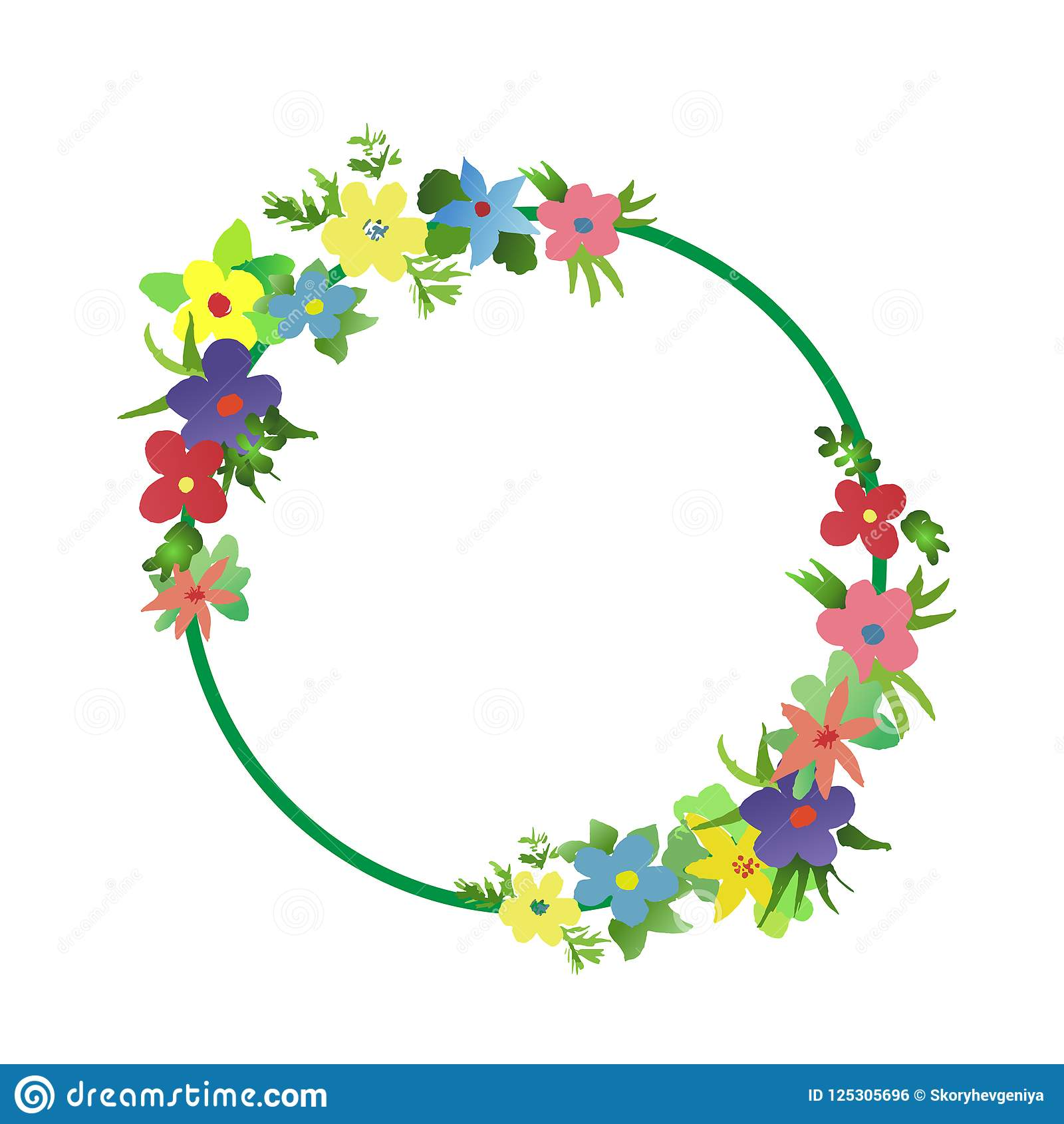 Round frame of watercolor simple flat flowers