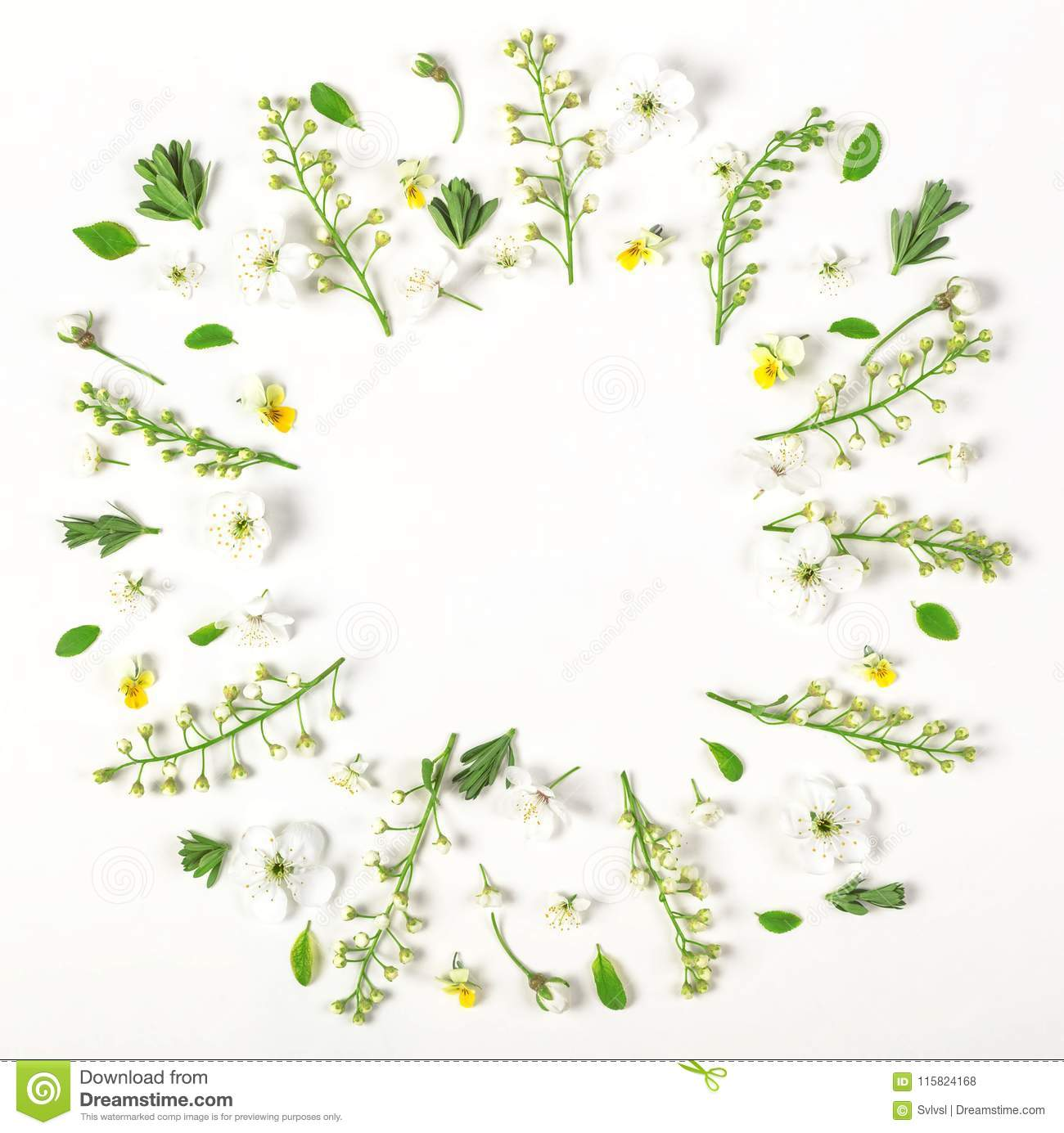 Round frame wreath made of spring flowers and leaves isolated on white background. Flat lay.