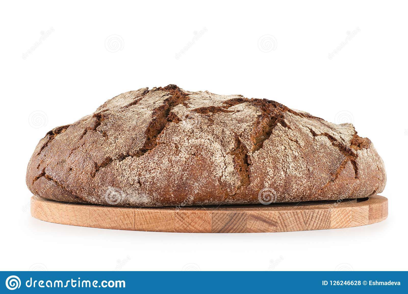 Fresh Round Bread Side View Isolated On White With Clipping