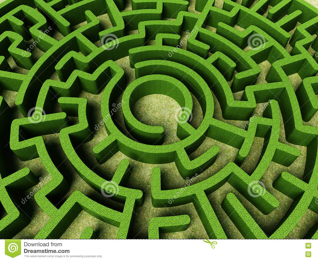 Round garden maze with green bushes as walls stock for Jardin laberinto