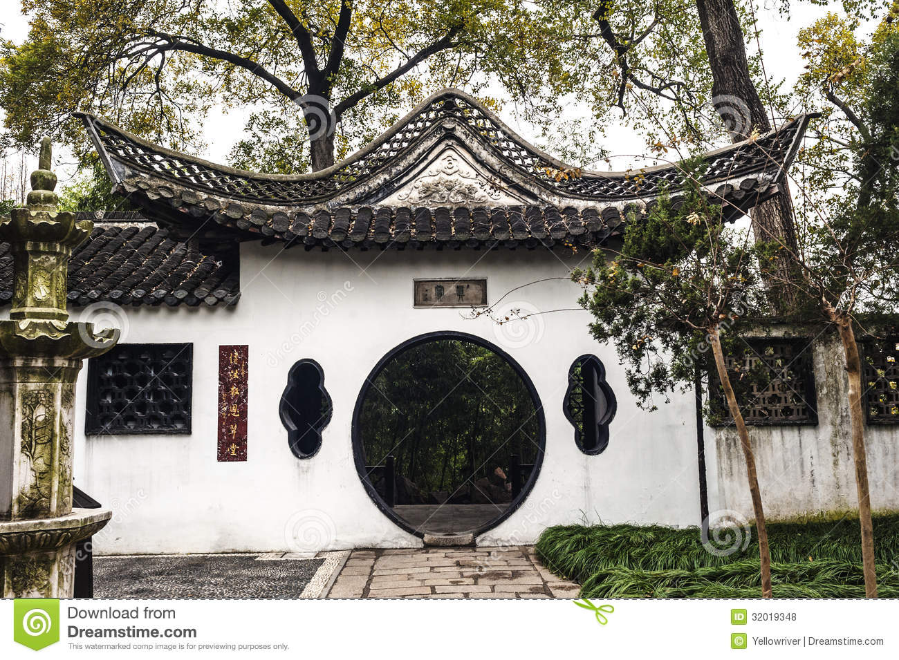 the round gate in chinese style garden royalty free stock