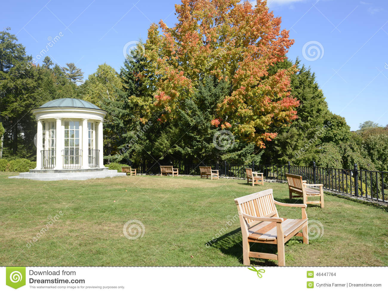 Round Gazebo And Wood Park Benches Stock Photo - Image of wood, blue ...
