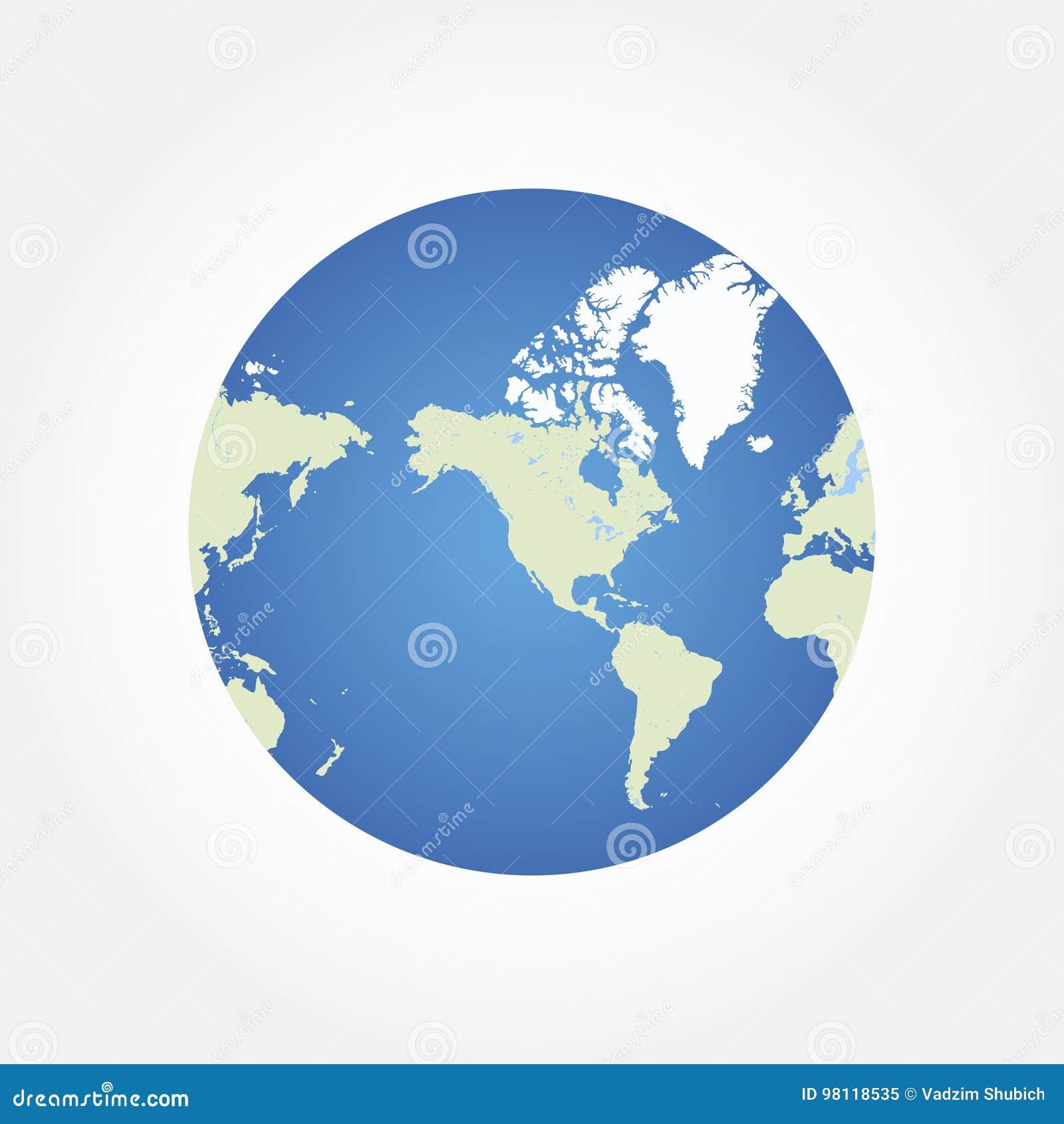Round Globe World Map. Flat Illustration EPS 10 Stock Illustration ...