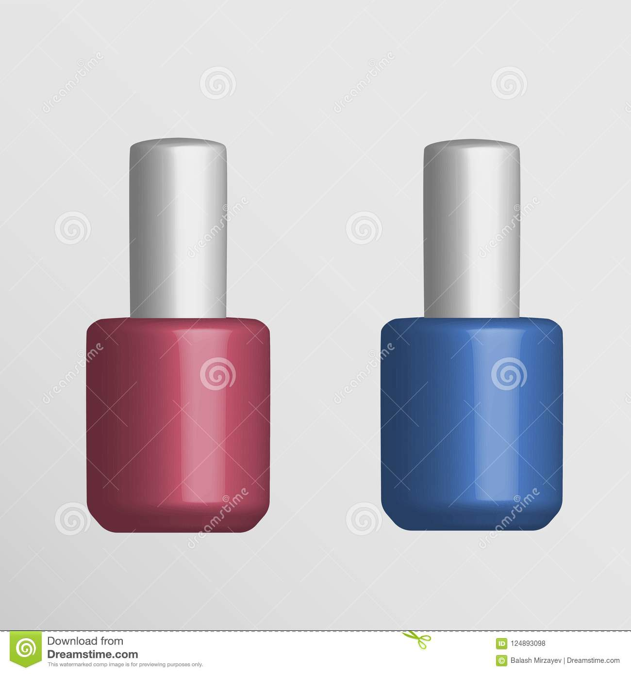 Round Glossy Nail Polish Bottle With Cap Stock Vector