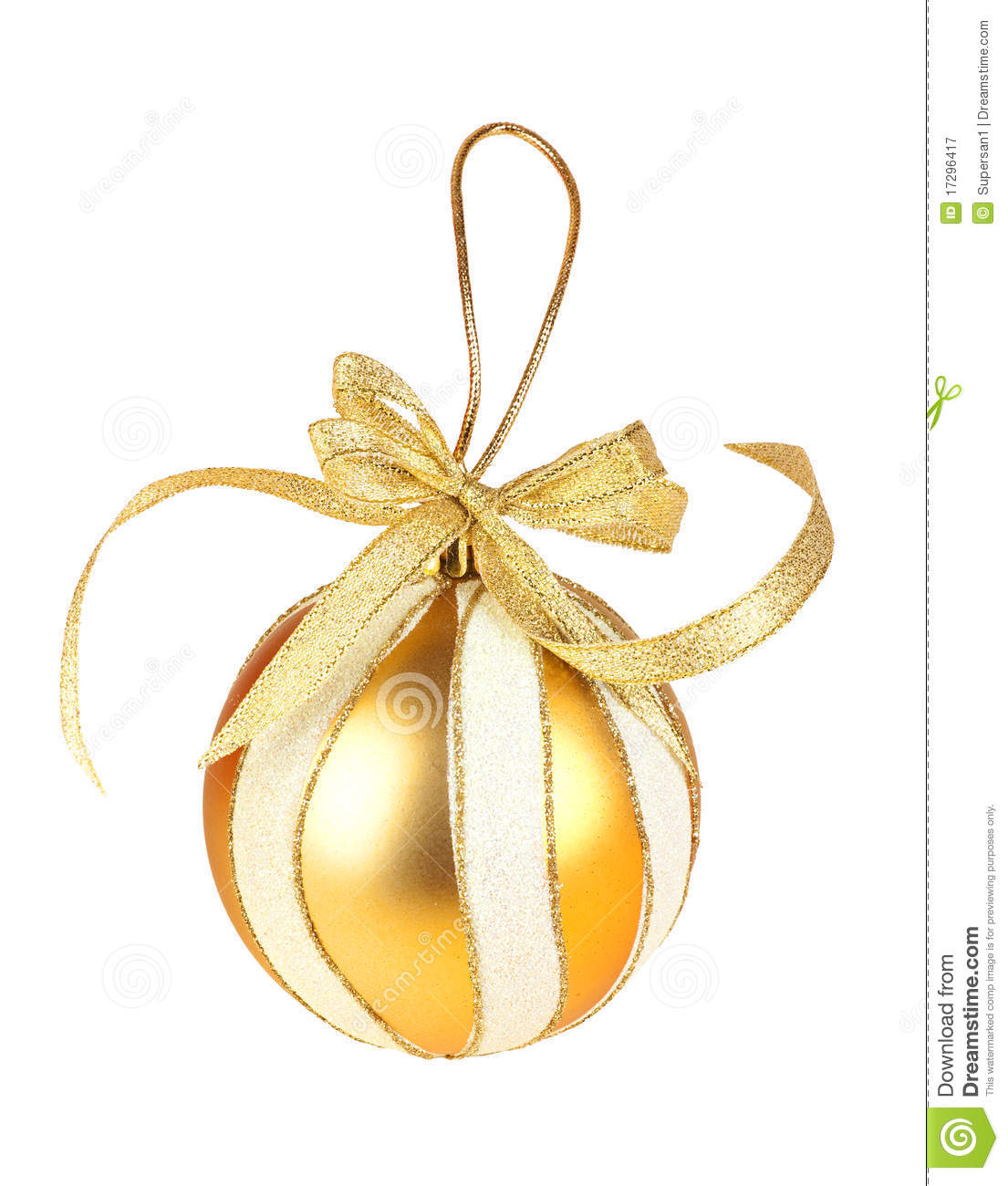 Round gold christmas toy on white background royalty free - Sapins de noel decores ...