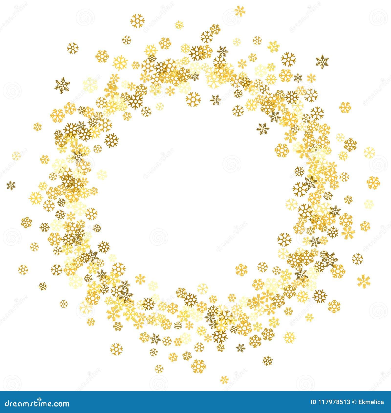 8671c3d54ae Round gold frame or border of random scatter golden snowflakes on white  background. Design element for festive banner