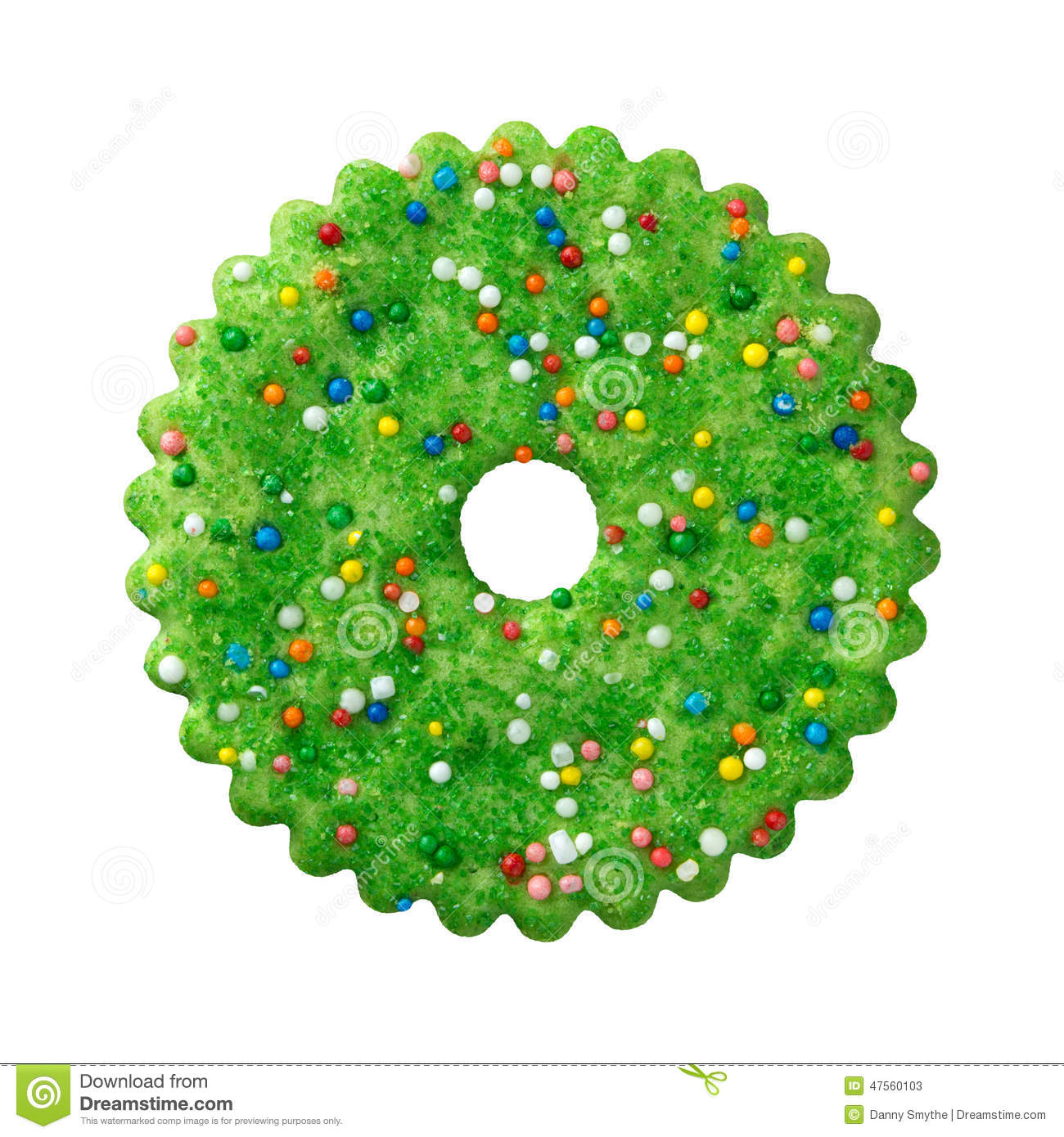Round Green Christmas Cookie Stock Image Image Of Food Sugar