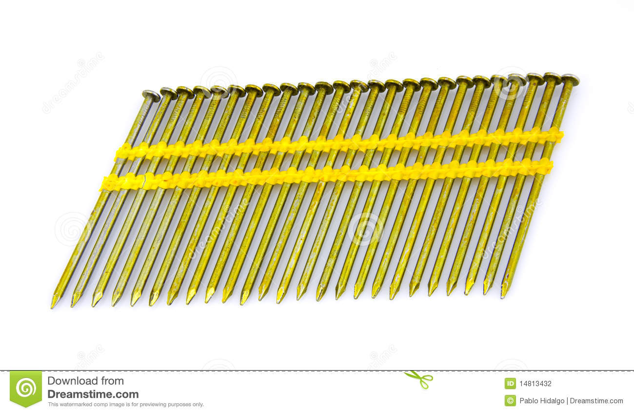 Round Head Plastic Collated Framing Nails Stock Photo - Image of ...