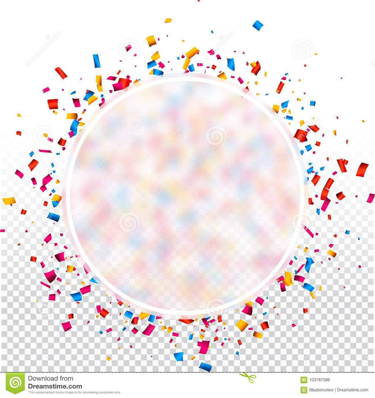 white round transparent new year background with colorful confetti vector illustration