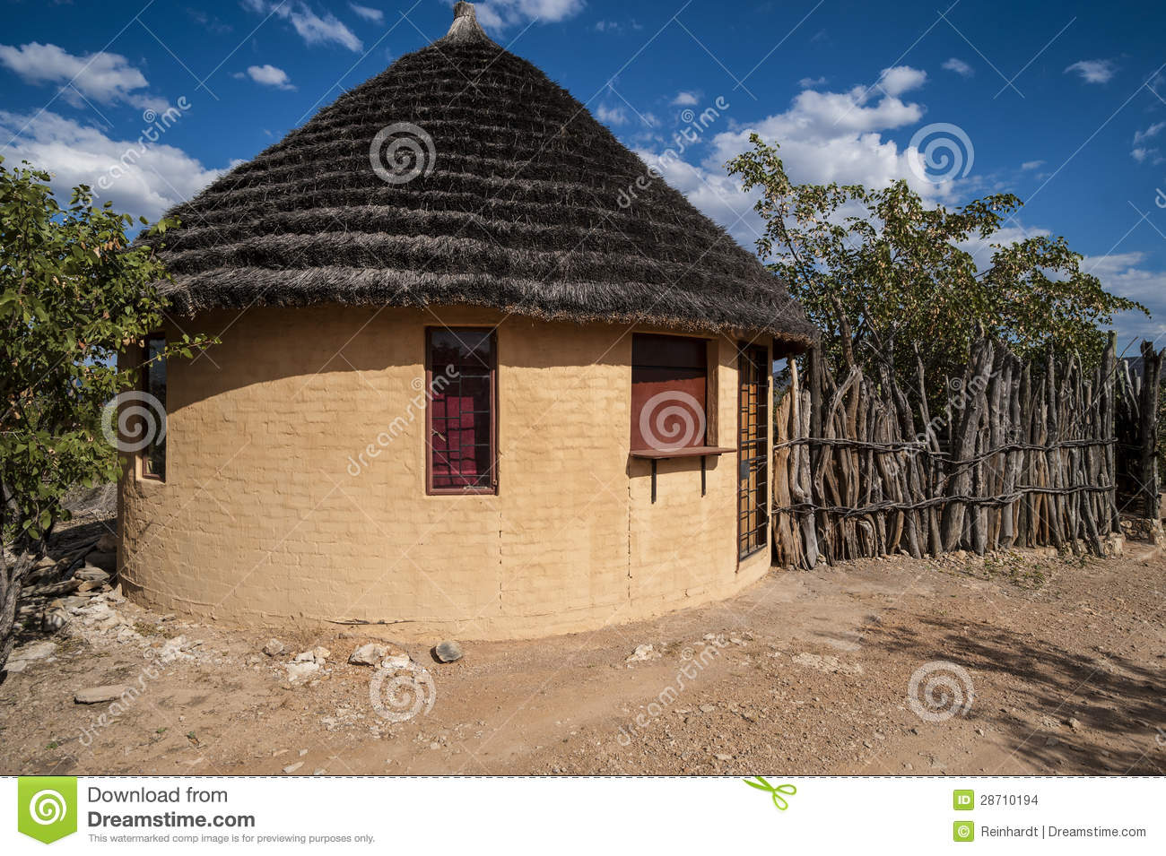 Round Hut And Wooden Fence Africa Stock Images Image