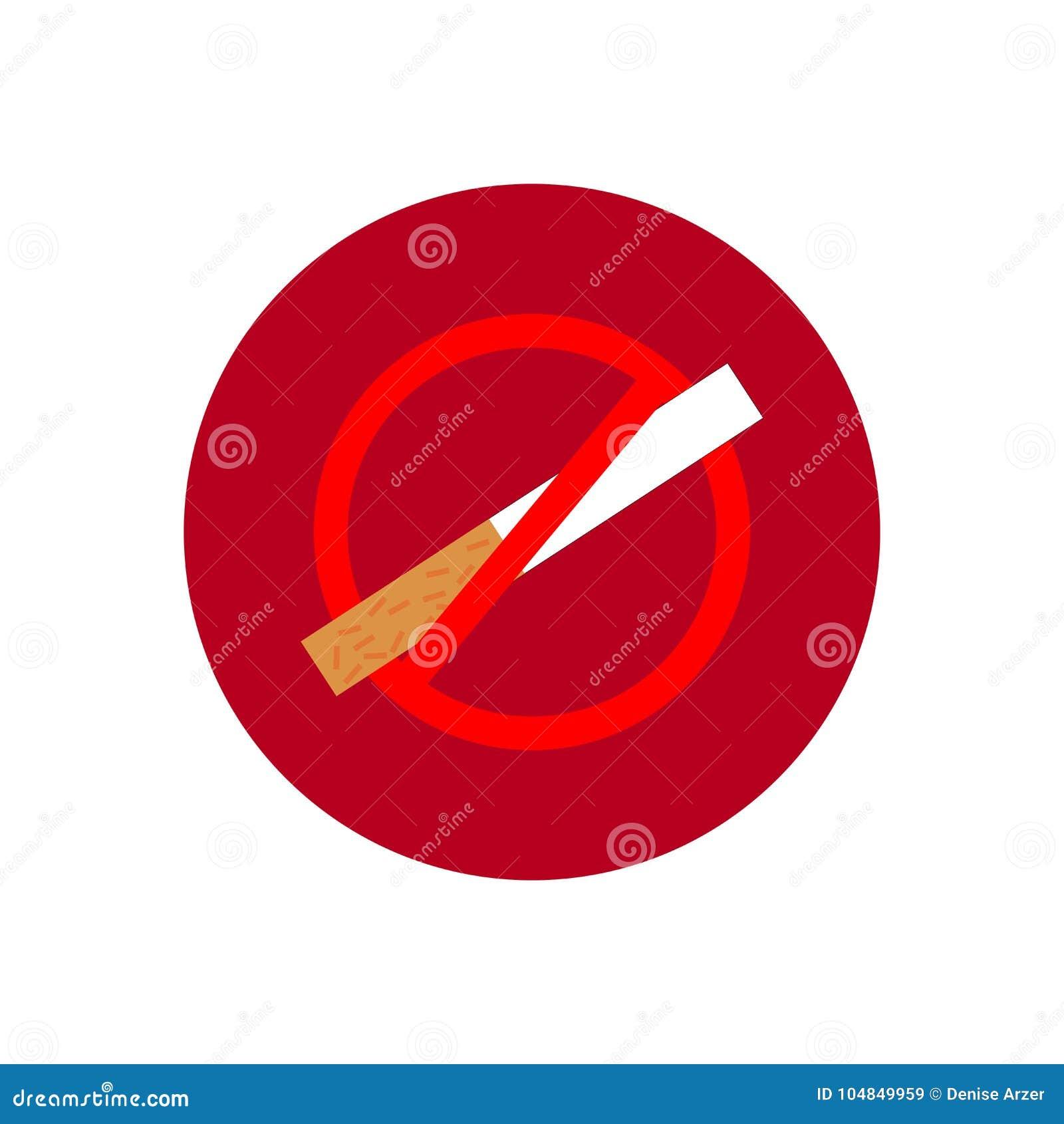 Round ikona z dymienie zabronionym symbolem