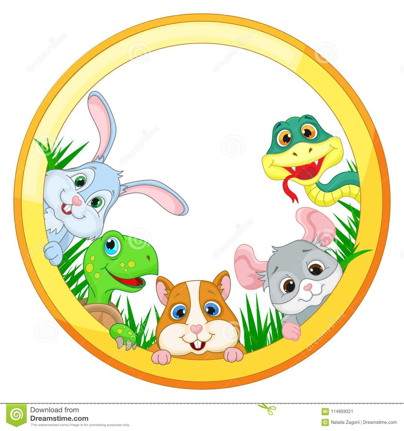 Illustration with Pets on the white background , snake, chinchilla, hamster, turtle and rabbit ,isolate