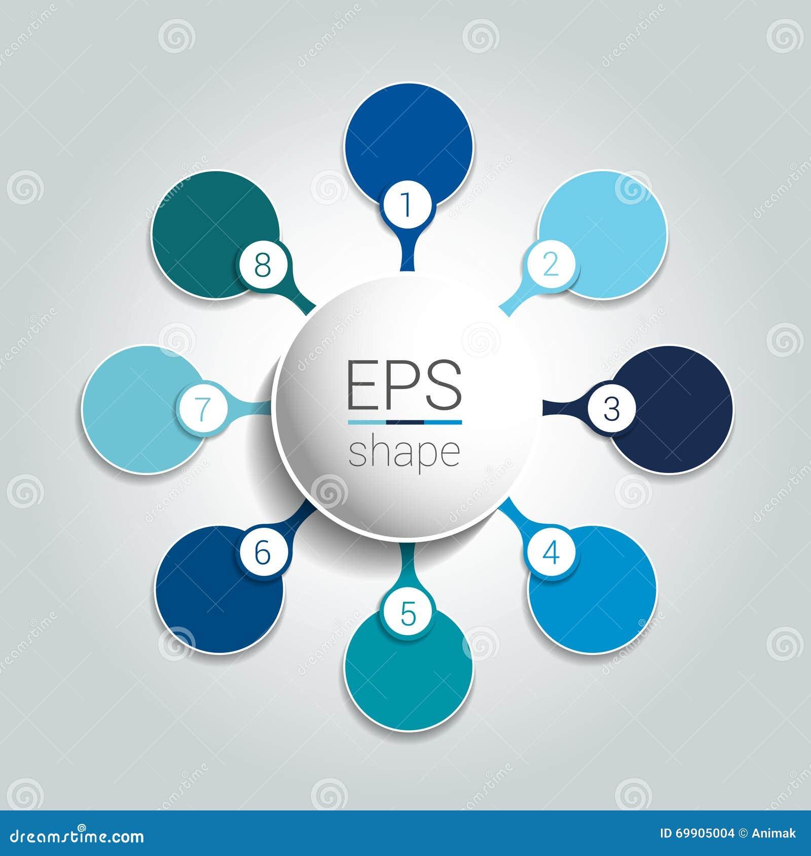 Round infographic 8 kroków zarabiają netto spływową mapę Diagram, wykres, mapa, flowchart, sztandaru szablon