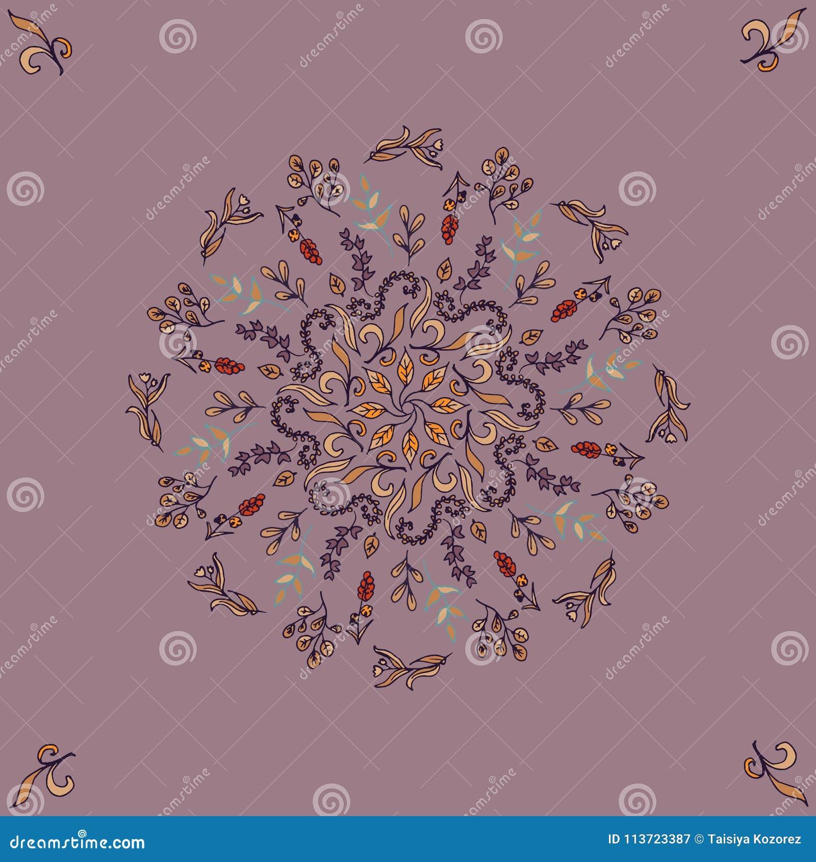 Round Kwiecisty ornament na Ciemnym tle Szablon Dekoracyjna rama Wektorowego rocznika bezszwowy wzór