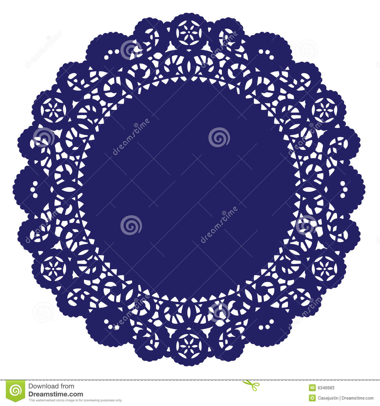 Round Lace Doily Royal Blue Stock Vector Illustration