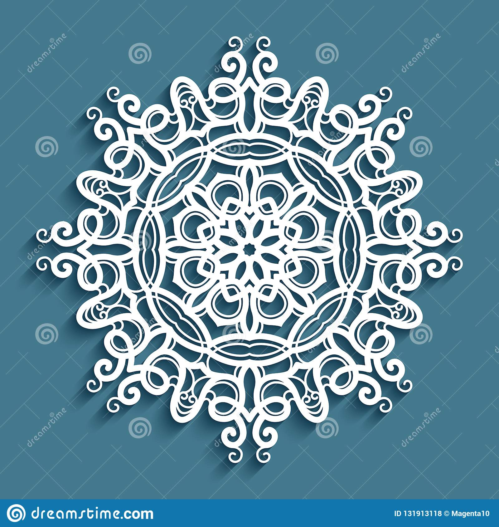Crochet Lace Doily Cut Out Snowflake Pattern Stock Vector