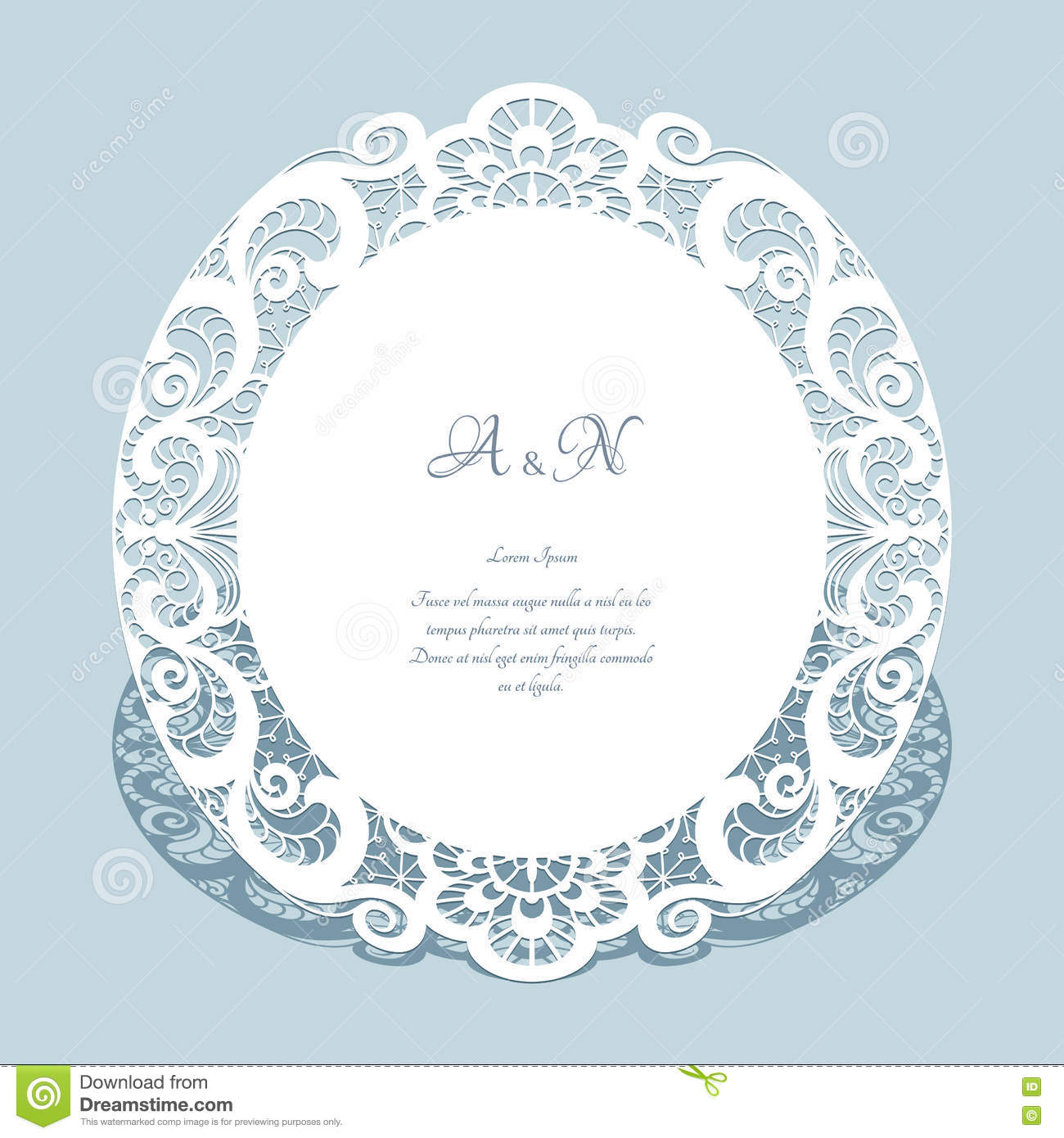 Round Lace Frame Wedding Invitation Template Stock Vector