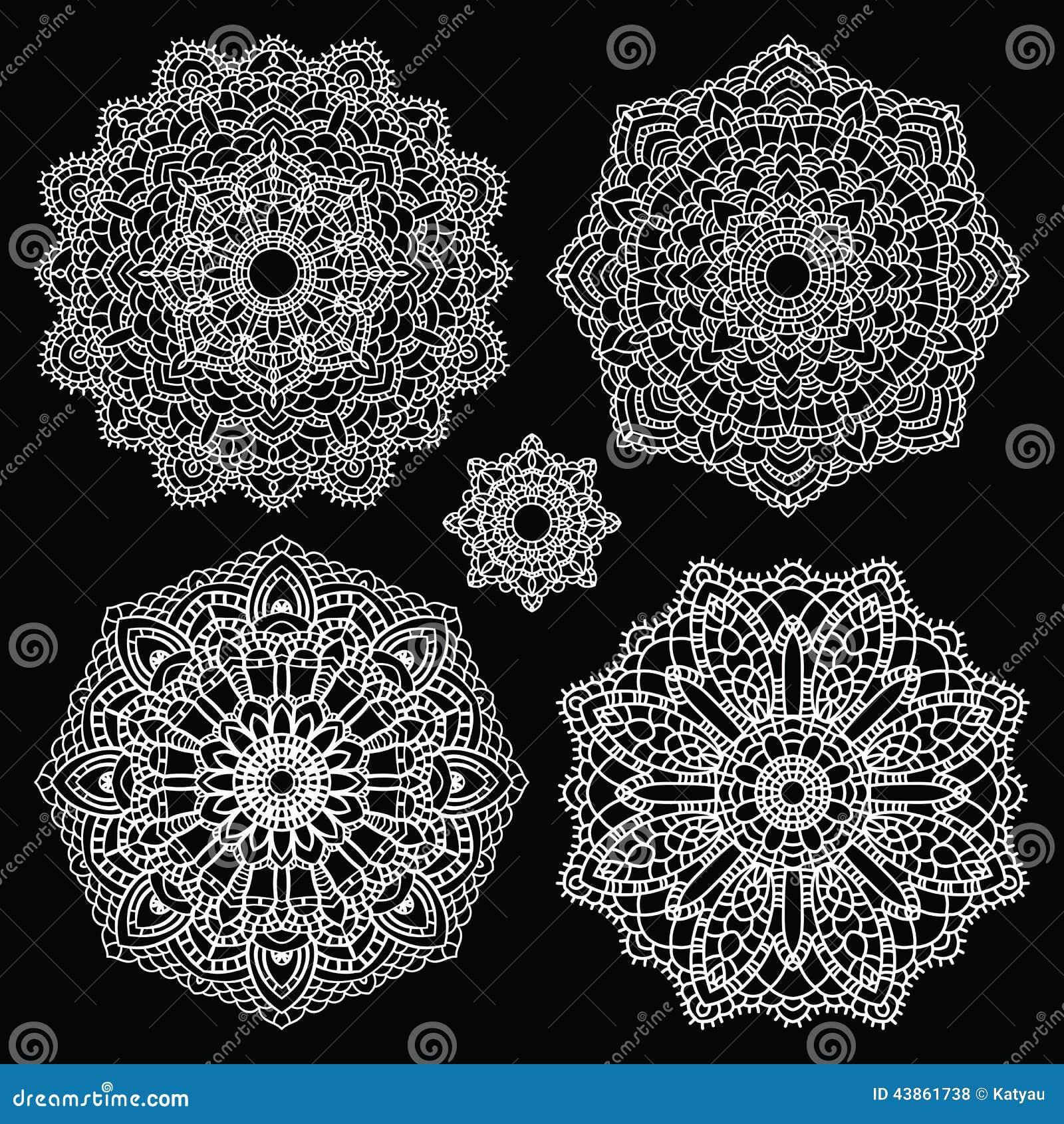 Round Lace Pattern Set. Mandala. Stock Vector - Illustration of ...