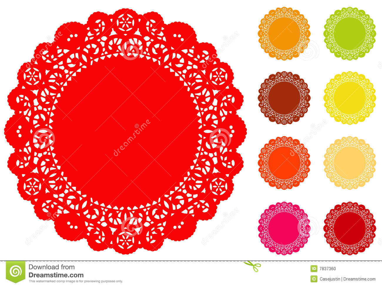 Round Lace Round Doily 9 Bright Colors Stock Photo