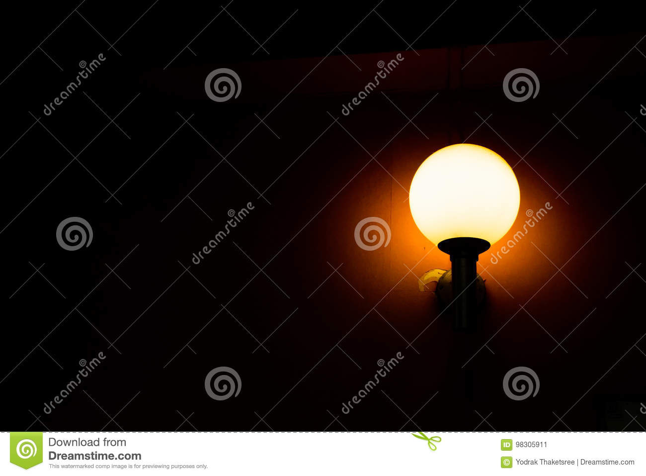 Round lamp beside a wall stock image image of decor 98305911 download comp aloadofball Choice Image