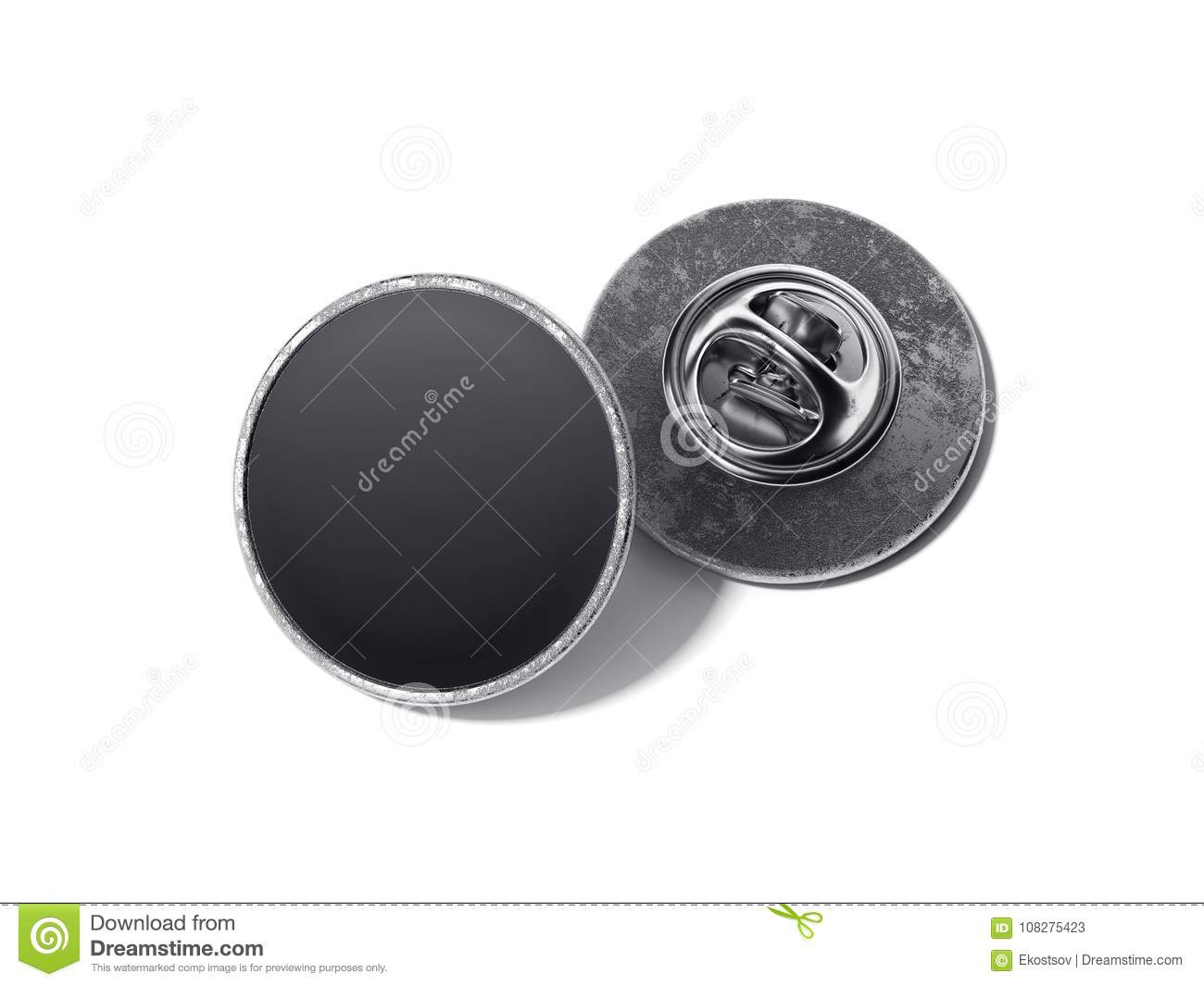 Round lapel pin with black blank face. 3d rendering